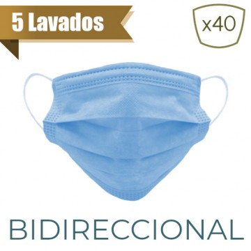 Mascarilla Higiénica Reutilizable 5 Lavados - Azul Tejano (40 Uds)