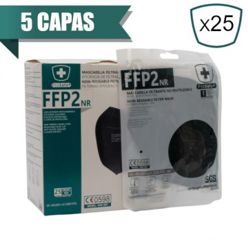 Mascarilla Plegable FFP2 Negra NR PRO SAFE + (25 Uds)